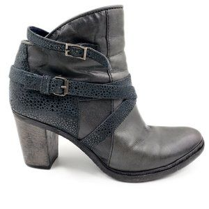 "Miz Mooz Gray Veronica Leather Ankle Boot 3"" Heels"